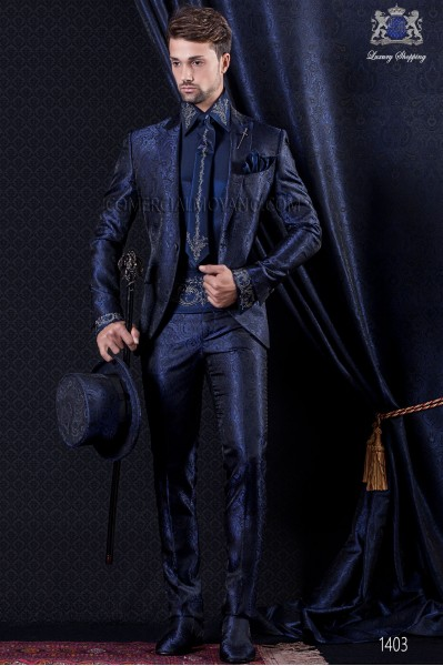 Groomswear Baroque. Frock coat of time Jacquard blue and black color.