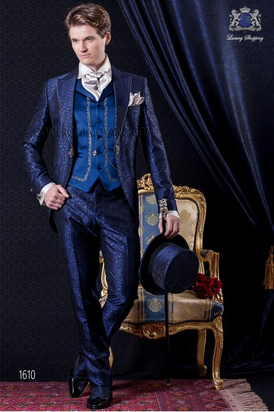 Groomswear Baroque. Frock coat vintage blue black fabric with rhinestones on the lapels and brocade.