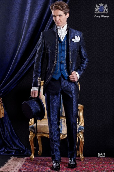 Groomswear Baroque. Levita vintage blue brocade fabric and black with silver embroidery.