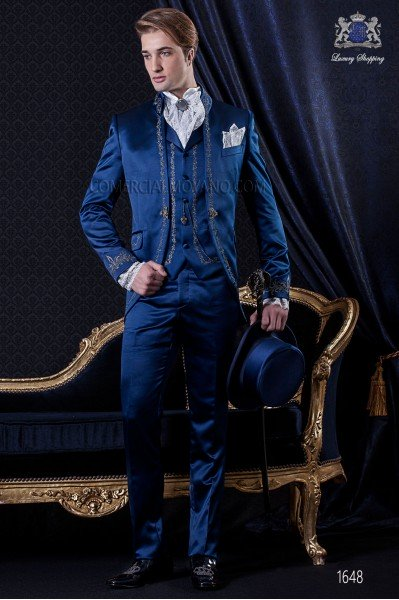 Groomswear Baroque. Vintage suit coat in blue satin with silver embroidery yarns.