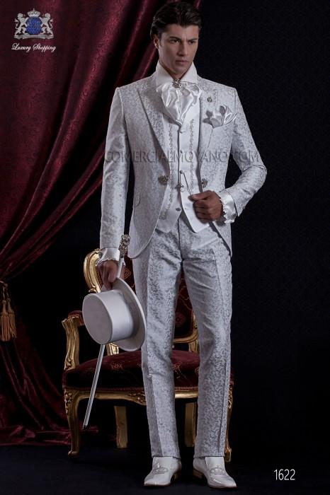 Groomswear Baroque. Coat dress fabric vintage pearl gray / white brocade with brooch fantasy.