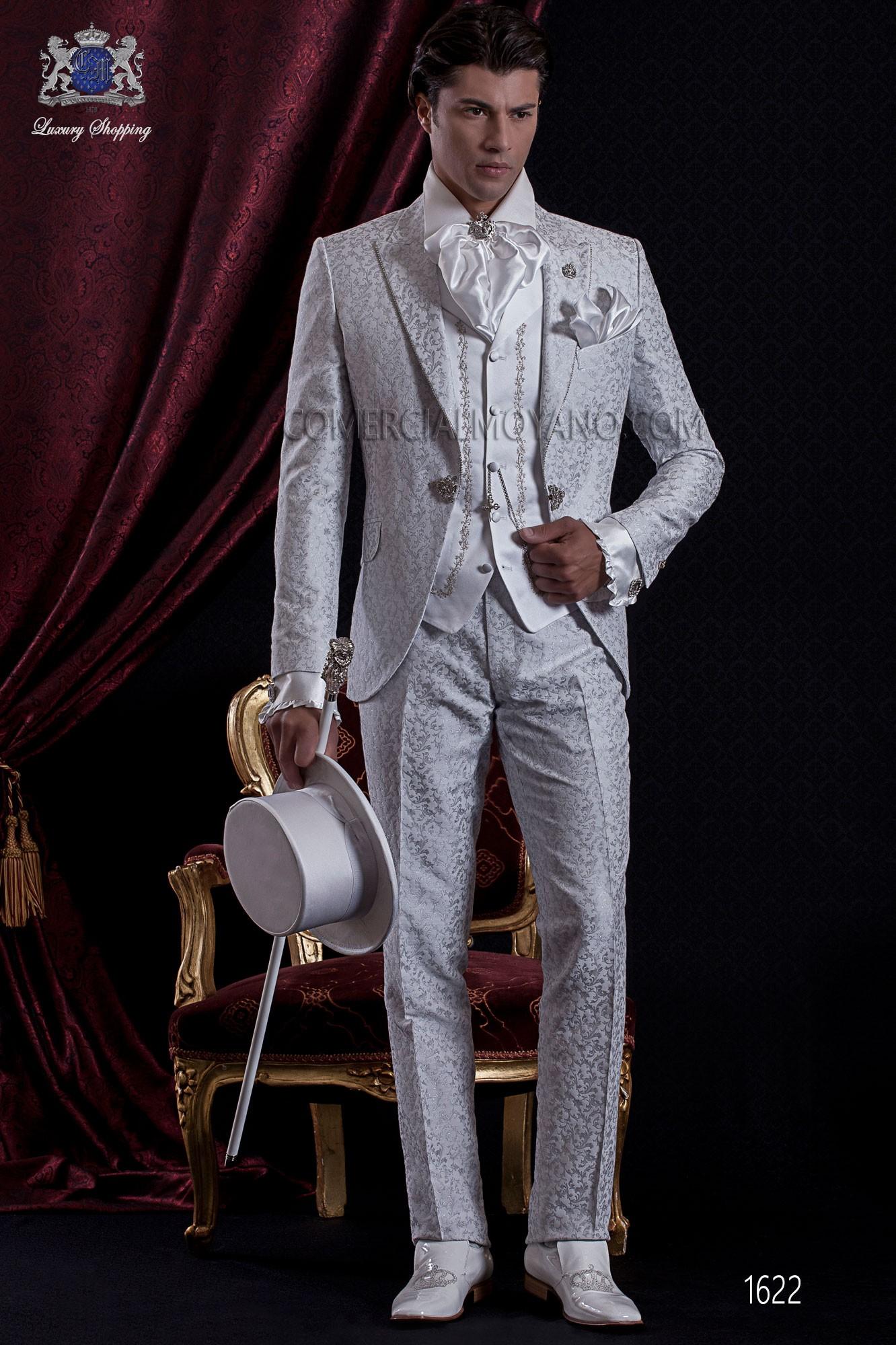 Italian Boyfriend Anzug Vintage Brokat Barocke Perle Grau 1622