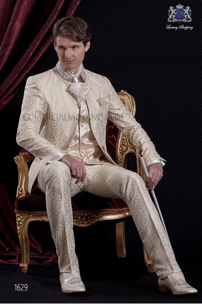 Groomswear Baroque. Coat dress fabric vintage gold brocade mandarin collar with rhinestones.