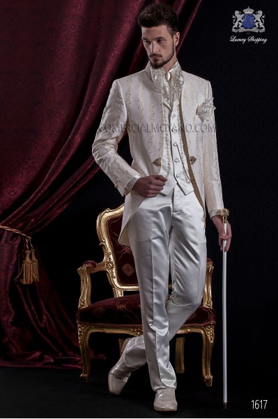 Groomswear Baroque. Suit coat vintage ivory brocade fabric with mandarin collar of precious stones.