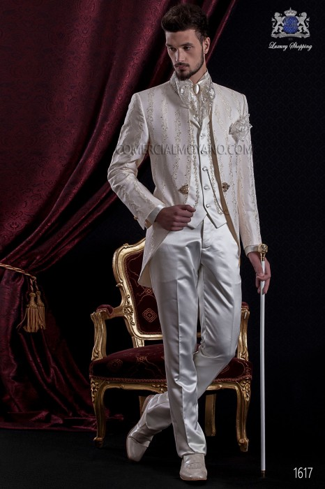 Groomswear Baroque. Suit coat vintage ivory brocade fabric with mandarin collar of precious stones.