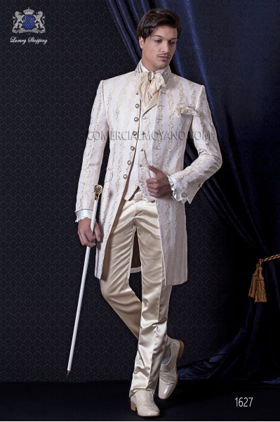 Groomswear Baroque. Vintage suit jacket in ivory brocade fabric with rhinestone collar.