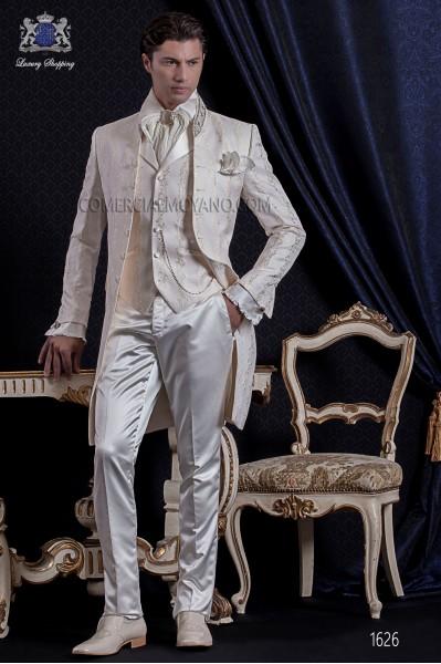 Groomswear Baroque. Vintage suit jacket in ivory brocade fabric with rhinestone collar.