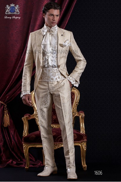 Groomswear Baroque. Suit coat vintage gold brocade fabric with brooch fantasy.