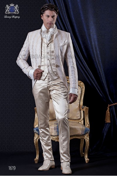 Groomswear Baroque. Suit coat in vintage gold-ivory brocade fabric with mandarin collar.