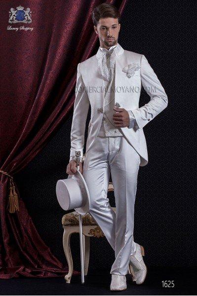 Groomswear Baroque. Vintage suit coat white satin fabric neck Napoleon.