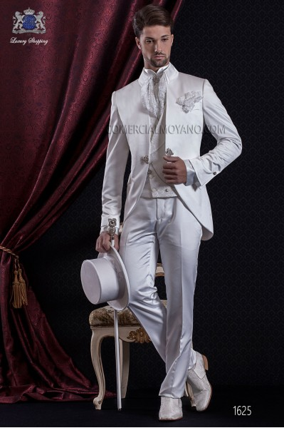Groomswear Baroque. Vintage suit coat white satin fabric neck Napoleon.