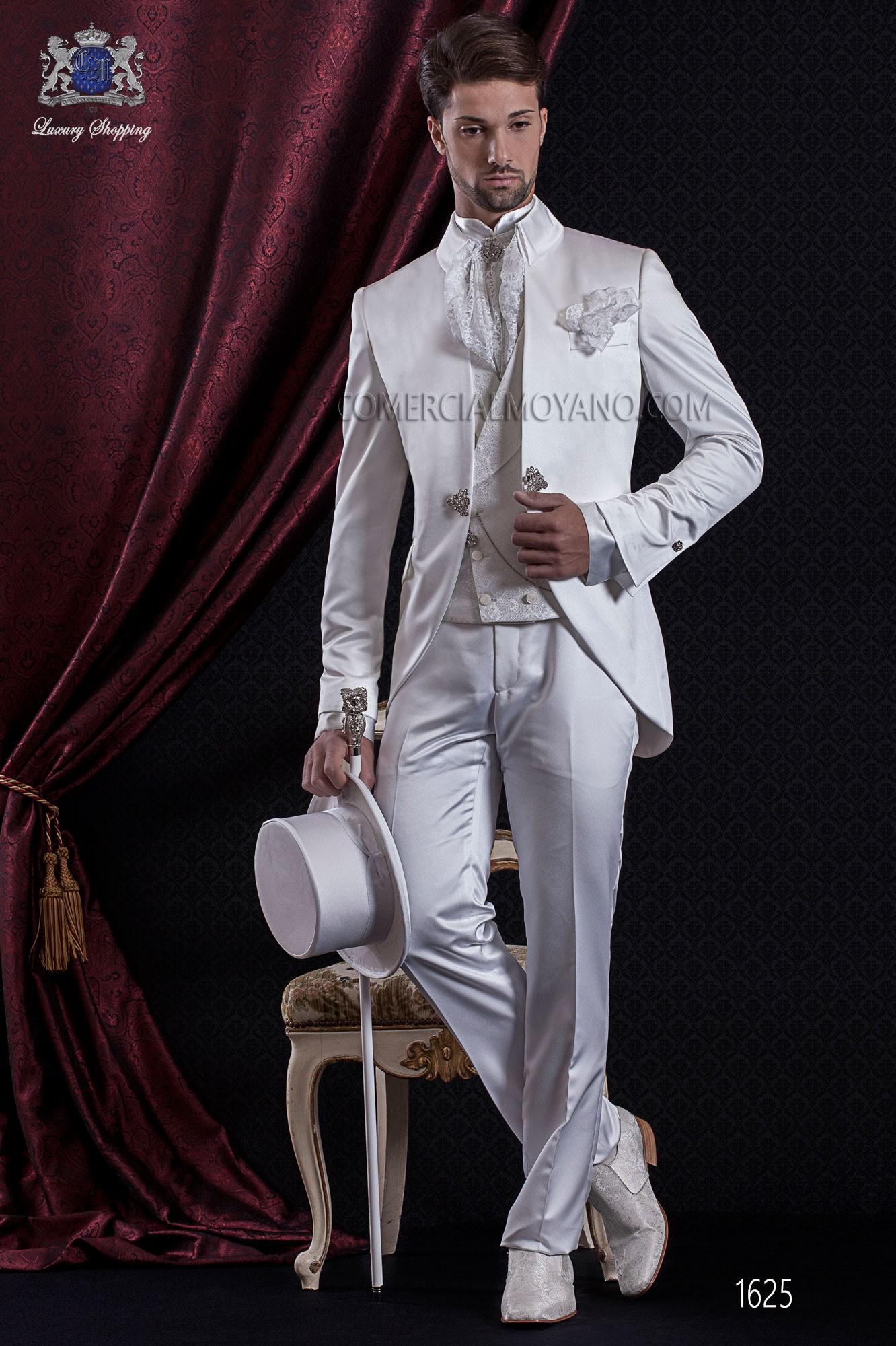 Satin Petit Italien Tissu Ami Manteau Blanc Suit Baroque De 0ZB6wn