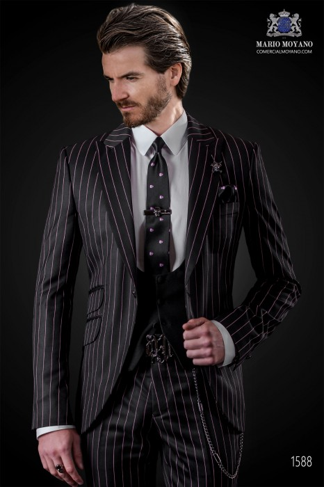 "Italian fashion suit modern style ""Slim"" with peak lapels and one button."