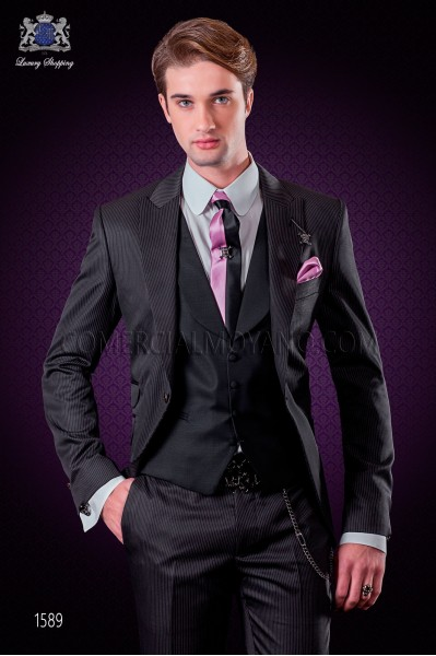 "Italian fashion suit modern style ""Slim"" with peak lapels and one button. Diplomatic black stripe fabric design."