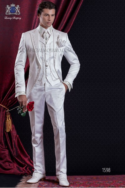 Groomswear Baroque. Levita vintage white satin fabric with silver embroidery.