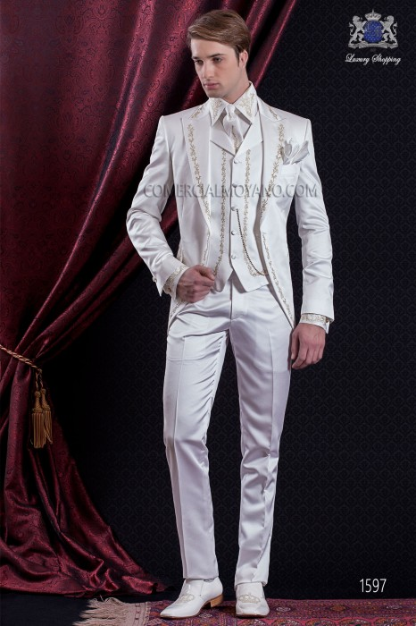 Groomswear Baroque. Levita vintage white satin fabric with gold-silver embroidery.