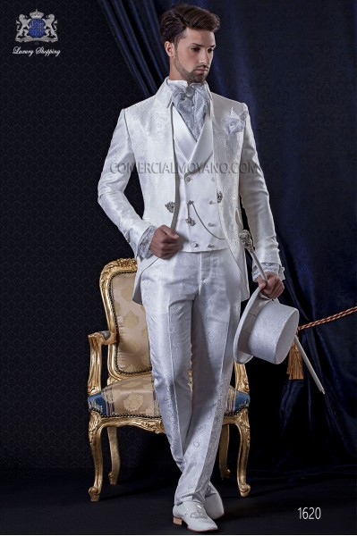 Groomswear Baroque. Levita vintage fabric with white Jacquard boche fantasy.