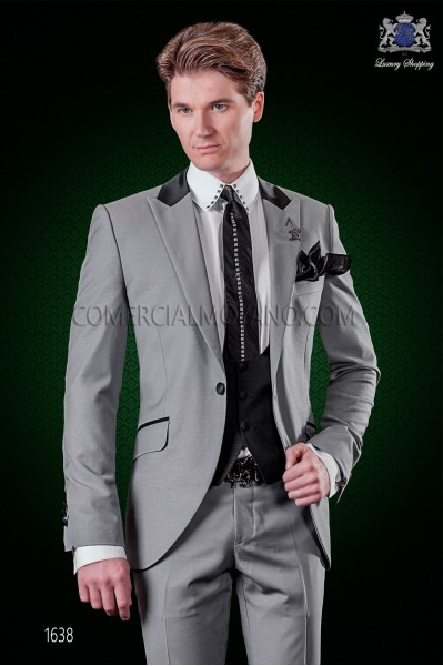 "Italian fashion suit with modern cut ""Slim"" peak lapels and one button. Gray stretch wool fabric."