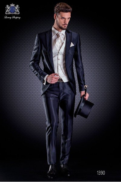 wedding suit Slim stylish cut, made from 'New Performance' faille in navy blue