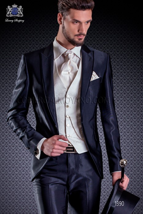 Italian fashion wedding suits in navy blue Ottavio Nuccio Gala