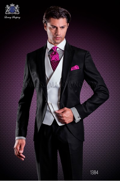Italian wedding suit Slim stylish cut. Peak lapel with single patterned button closure and contrast fabric piping.