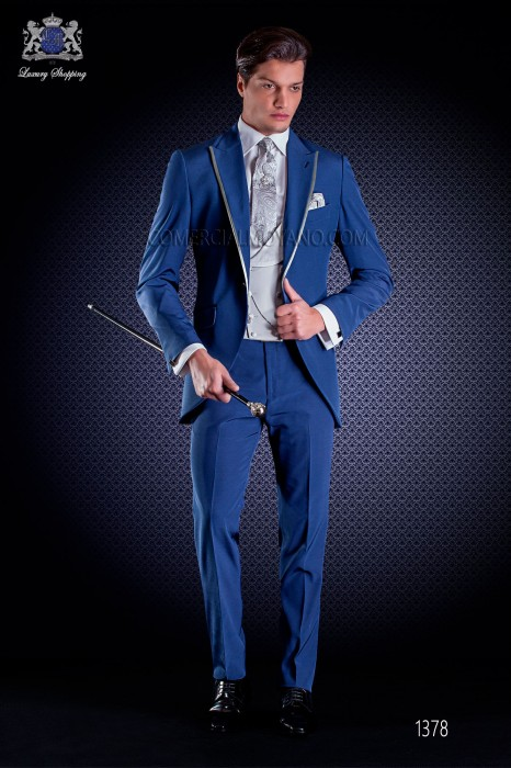 Italian short-tailed wedding suit Slim stylish cut, made from New performance woven in blue