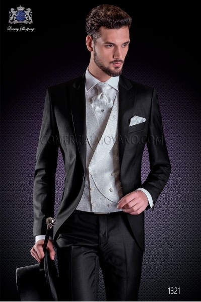 Italian wedding suit Slim stylish cut, made from black satin 100% wool fabric.