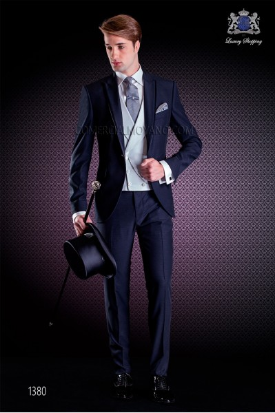 Italian wedding suit Slim stylish cut, made from wool and acetate fabric in blue Peak lapel with contrast fabric piping.
