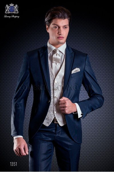 Italian wedding suit Slim stylish cut, made from false plain fabric in blue with peak lapel with contrast fabric piping
