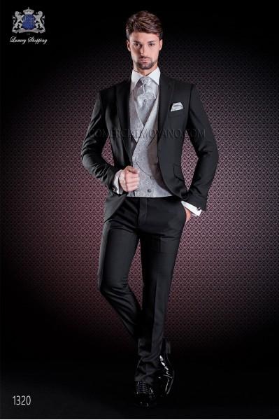 "Traje semilevita italiano con moderno estilo ""Slim"", 1 botón. Tejido satinado de lana en color negro."