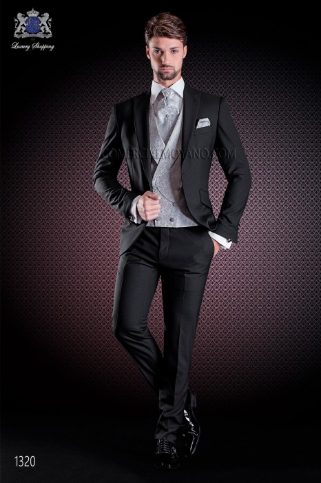Italian wedding suit Slim stylish cut, made from black wool sateen fabric. Peak lapel with single patterned button closure