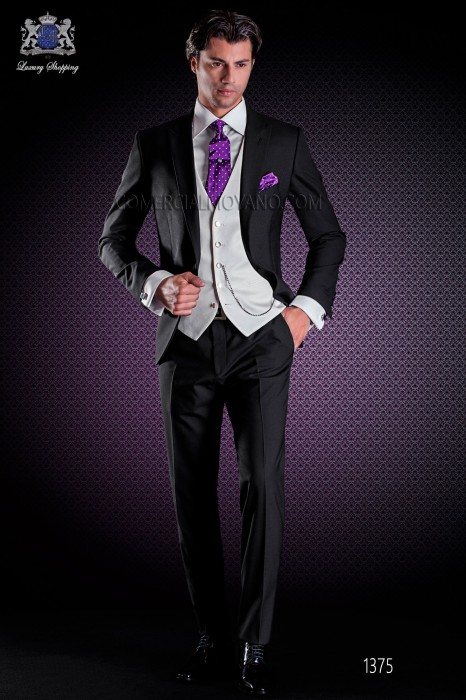 Italian wedding suit Slim stylish cut, made from black wool sateen fabric. Peak lapel and contrast fabric piping.