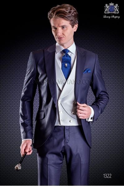 """Traje italiano con moderno estilo """"Slim"""" de solapa punta y 1 botón. Tejido pura lana de Tasmania azul"""