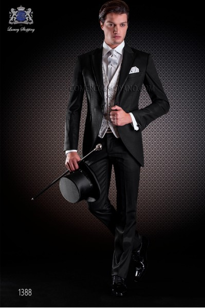 Italian short-tailed wedding suit Slim stylish cut, made from false plain fabric in black