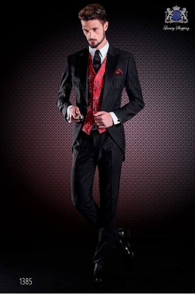 Italian short-tailed wedding suit Slim stylish cut, made from acetate and wool blend in black