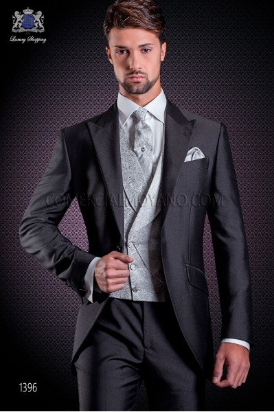 Italian short-tailed wedding suit Slim stylish cut, made from a charcoal gray New Performance fabric