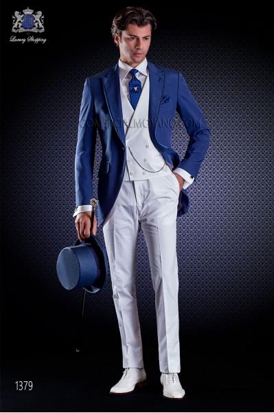 Traje semilevita, combinado. Americana tejido new performance en color azul y pantalón 100% algodón blanco