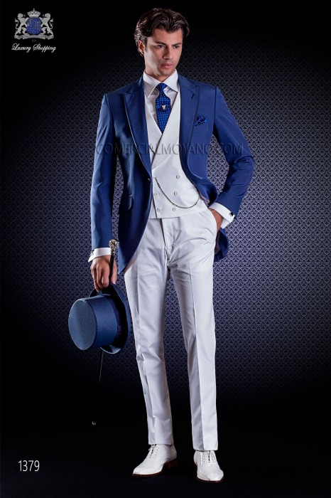 Italian wedding suit with Slim stylish cut, with peak lapel with contrast fabric piping and single patterned button