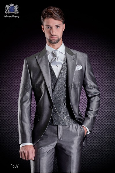 Italian short-tailed wedding suit with Slim stylish cut, made from a gray New Performance fabric