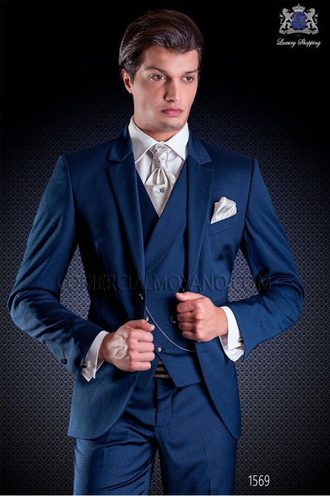"Italian wedding suit Slim stylish cut, made from blue New Performance ""iridescent"" fabric. Notched lapel with 2 buttons closure"
