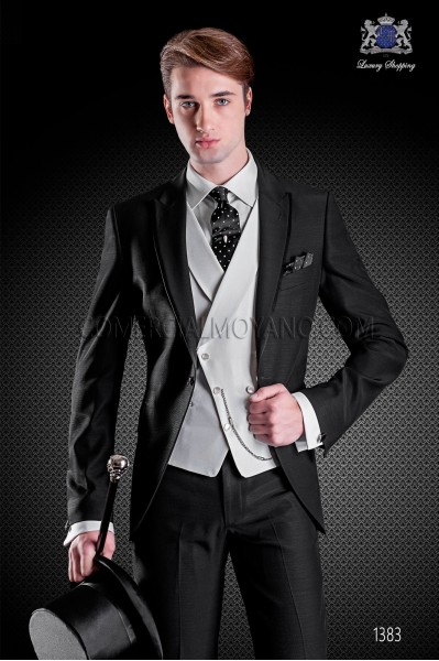 Italian wedding suit with slim stylish cut, made from wool and acetate fabric in black