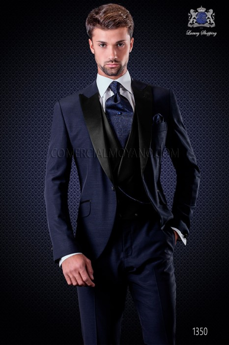 Italian wedding suit with slim stylish cut, with peak lapel and single patterned button closure. Wool and acetate fabric in blue