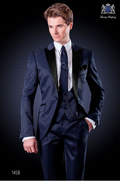 Italian wedding suit with slim stylish cut, with peak lapel and single patterned button closure