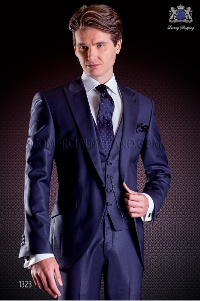 Italian wedding suit Slim stylish cut, made from Tasmanian pure wool fabric in blue with peak lapel and single button closure