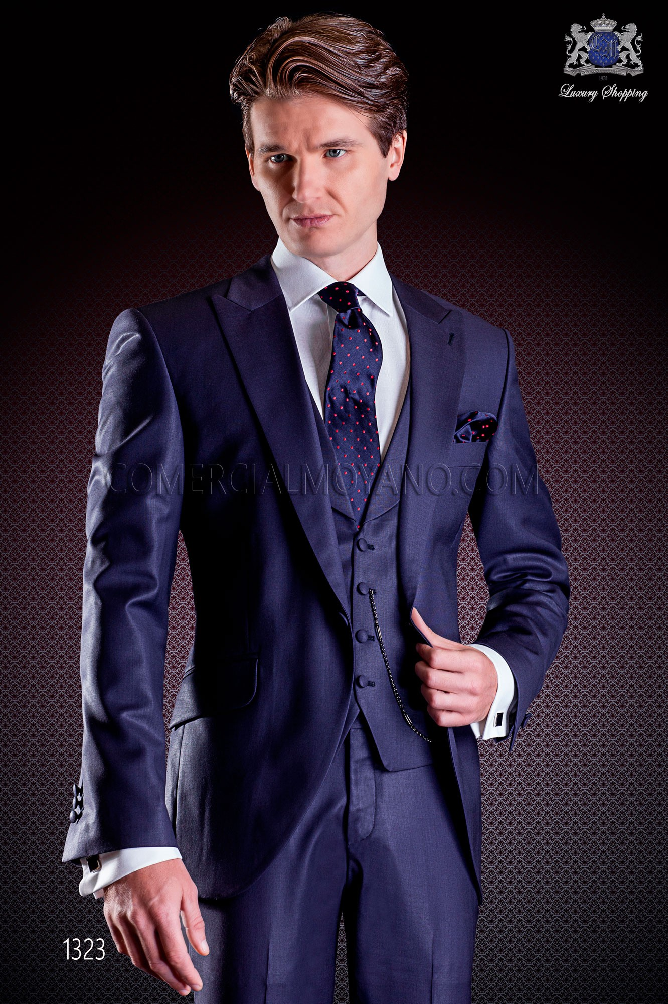 Italian Wedding Suit Slim Stylish Cut Made From Tasmanian Pure Wool Fabric In Blue With Loading Zoom