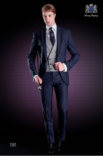 Italian wedding suit with slim stylish cut, made from wool and acetate fabric in blue.