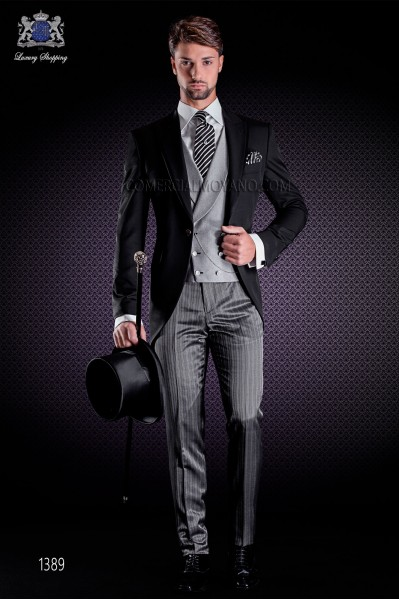 Italian short-tailed wedding suits with slim stylish cut, peak lapel with contrast fabric piping and single patterned button.