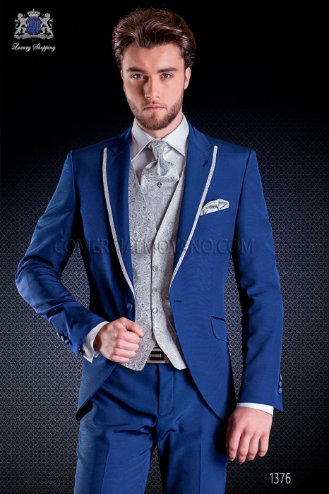 Italian short-tailed wedding suit slim stylish cut, made from acetate and wool blend in blue