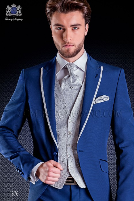 Italian fashion wedding suits in blue short tailed model ON Gala