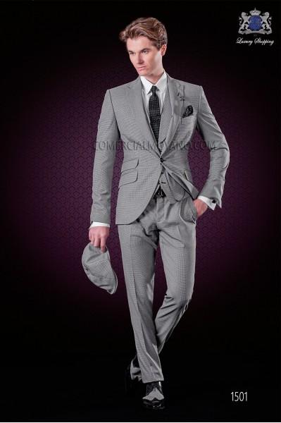 "Traje de moda italiano con moderno corte ""Slim"", solapas punta y 1 botón. Tejido diseño pata de gallo."